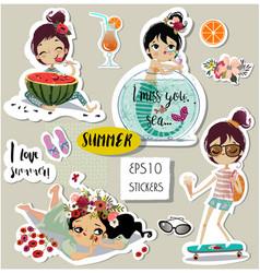 set with cute summer cartoon girl vector image