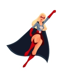 Superhero woman in cape and business suit vector