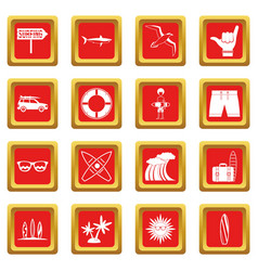 Surfing icons set red vector
