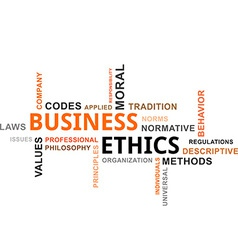 Word cloud business ethics vector