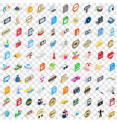 100 dj icons set isometric 3d style vector
