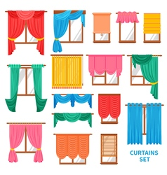 Window curtains and blinds set vector