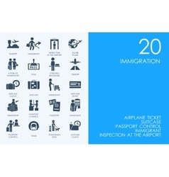 Set of blue hamster library immigration icons vector