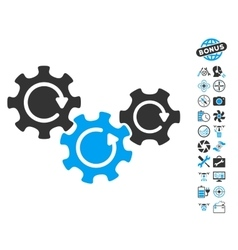 Transmission Gears Rotation Icon With Copter Tools vector image