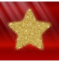 Icon of five-pointed star with gold sparkles and vector