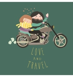 Happy couple in love riding a motorcycle vector image