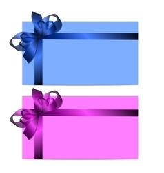Gift cards with realistic colorful ribbons vector