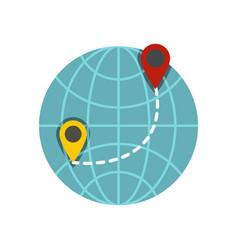 globe icon flat style vector image