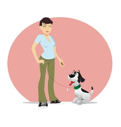 Dog owner treat vector