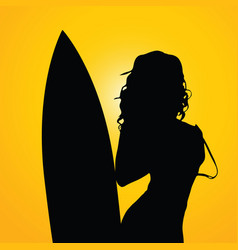 girl with surfboard on yellow background two vector image