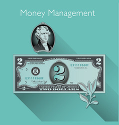 2 Dollar with Shadow vector image vector image