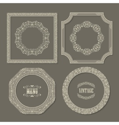 Set of vintage frames borders vector