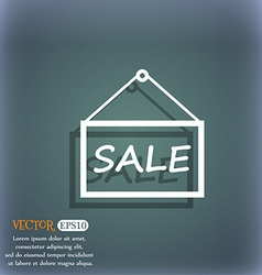 Sale tag icon sign on the blue-green abstract vector