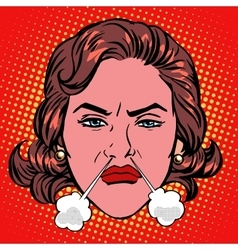 Retro emoji rage anger boiling woman face vector