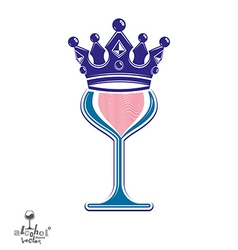 Sophisticated luxury wineglass with king crown vector