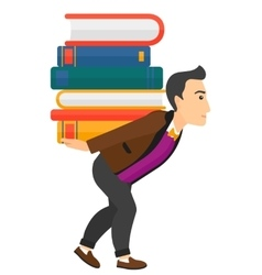 Man with pile of books vector
