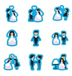 Set of flat web icons on white background bride vector image