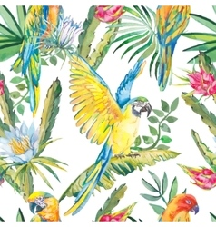 Parrots and exotic flowers macaw seamless pattern vector