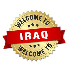 Iraq 3d gold badge with red ribbon vector