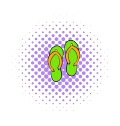 Beach slippers icon comics style vector