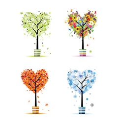 Four seasons - spring summer autumn winter trees vector