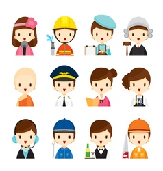 People occupations icons set vector