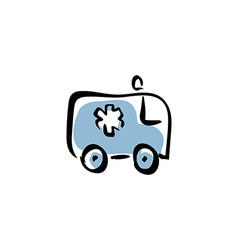 Ambulance car medical icon vector