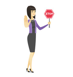 asian business woman holding stop road sign vector image vector image