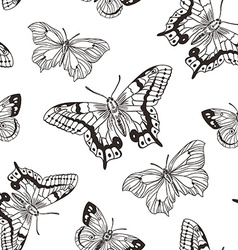 Beautiful seamless background of butterflies black vector