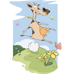Cheerful cow on a meadow vector image