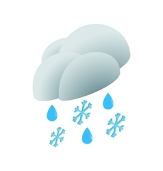 Cloud with rain drops and snowflakes icon vector