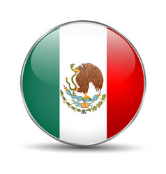 Flag of mexico mexican round glass button vector