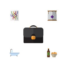 Flat icon lifestyle set of mattress beer with vector