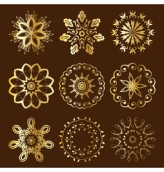 Floral radial gold ornament vector