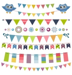 Garland and bunting set vector image vector image