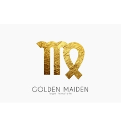 Golden maiden Golden zodiac sign Maiden zodiac vector image vector image