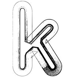 Grunge Font letter k vector image