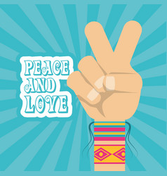 Hand symbol peace and love symbol hippie concept vector