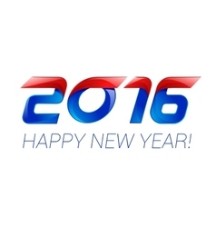 Happy new year 2016 text design blue and red vector image