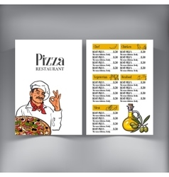 Menu design with italian chef serving freshly vector