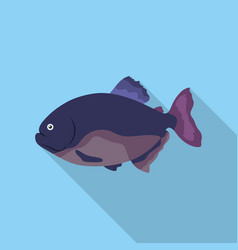 piranha fish icon flat singe aquarium fish icon vector image