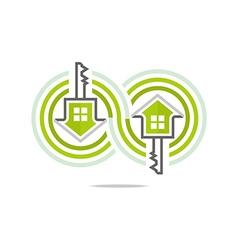 Private buildings design homekey alarm logo style vector