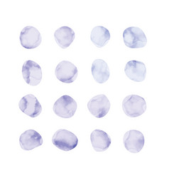 Purple watercolor spots painted stained petals vector