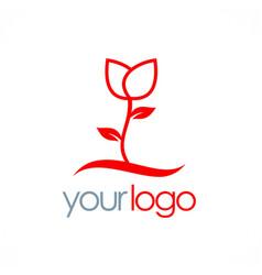 Rose plant flower logo vector