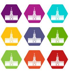 russian kremlin icon set color hexahedron vector image