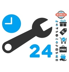 Service hours icon with free bonus vector