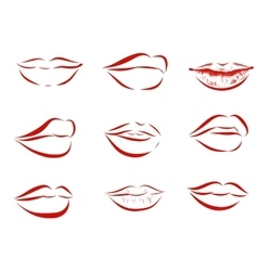 Set of isolated red women lips on light background vector image