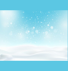 Snow landscape with light blue sky and snowfall vector