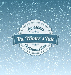 Snowfall with vintage badge vector image vector image