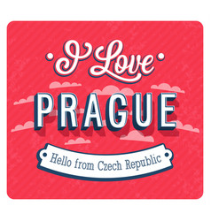 vintage greeting card from prague vector image vector image